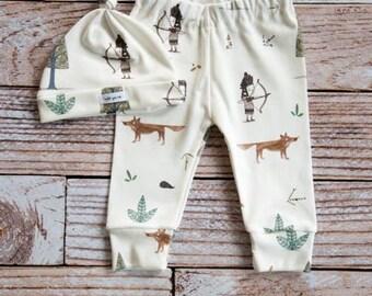 organic baby leggings, baby pants, baby leggings and hat, toddler pants, organic baby, Indian, woodland hat set, fox, baby gift