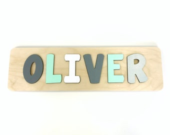 Name Puzzle, Mint and Grey Nursery, Wooden Name Puzzle, Mint and Navy Nursery, First Birthday Gift, Second Birthday Gift, Baby Shower, Boy
