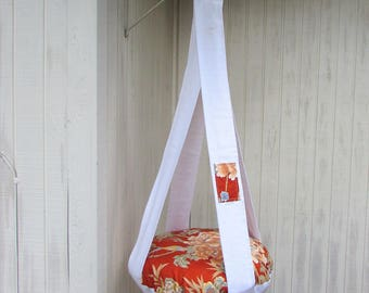 Cat Bed. Beautiful Orange & White Flowers and Butterflies, Single Cat Bed, Kitty Cloud, Hanging Cat Bed, Pet Furniture, Gift, Cat Tree