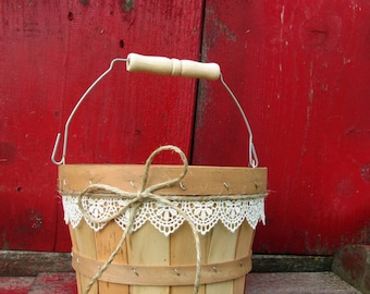 Rustic Flower Girl Basket - Wedding Basket - Flower Girl Basket - Flower Girl Bucket - Rustic Wedding - Barn Wedding - Flower Girl