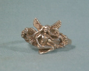 FAIRY FAERIE Ring Size10-Vintage Sterling Silver 925-TMA Hallmark-Nymph Pixie Sprite Winged Garden Angel Gnome Pressed Fairies-01978