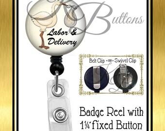 Labor & Delivery Badge Reel, Stork Badge Reel, Labor and Delivery Badge Reel, Retractable Badge Reel, Medical Badge Reel,  BRM014