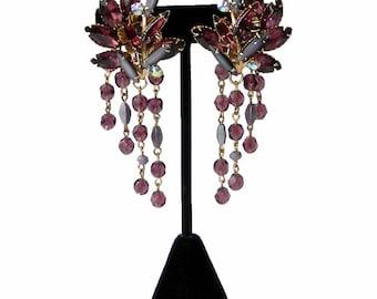 Vintage Purple Rhinestone and Drop Earrings