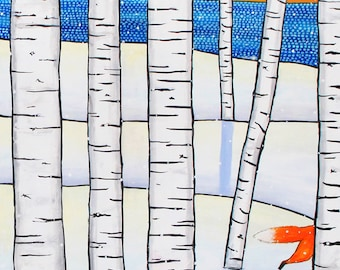 Fox tail Birch trees Winter Shelagh Duffett Print