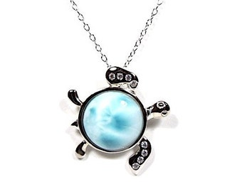 """Silver & AAA Larimar Turtle Pendant 18"""" necklace. Genuine AAA quality stone."""