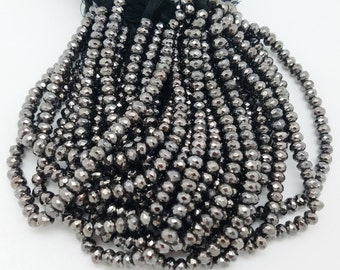 6mm Black Rhodium Pyrite Coated Faceted Rondelles, 8 inch