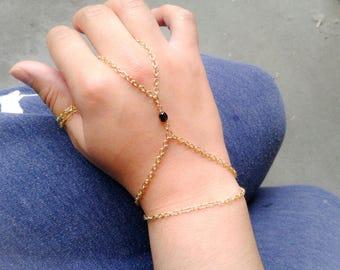 Slave Bracelet Purple Glass Bead Hand Chain Bohemian Slave Bracelet Purple Slave Bracelet Gold Hand Chain Bohemian Hand Chain