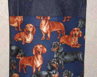 New Small Handmade Dachshund Doxie Weiner Dog Denim Tote Bag