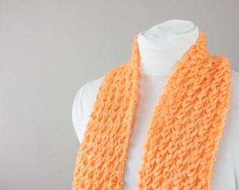 Handknit Orange Lace Scarf with Fringe for Teens, Women