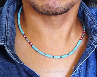 Necklace for Men, Teal Blue Magnesite Turquoise & Red Coral, Tribal, Southwestern, Native American, Mens Beaded Necklace