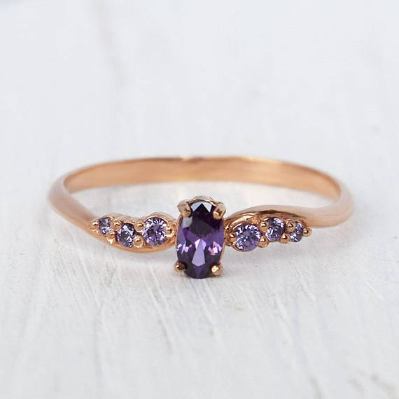 Amethyst ring gold Dainty ring Tiny ring Rose gold