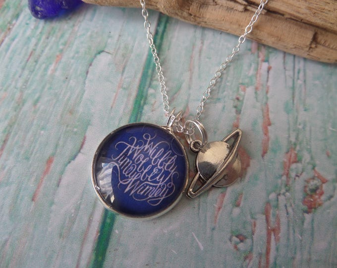 Wibbly Wobbly, Timey Wimey, doctor necklace, planet necklace, glass dome necklace, fan gift jewellery, who fandom gift, sandykissesuk