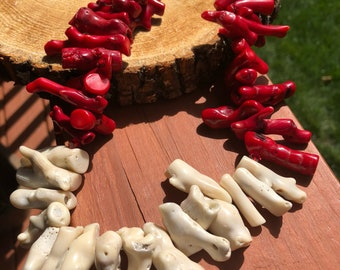 Gift for Mom Red and White Coral Necklace