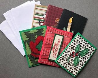 Handmade Fabric Holly Christmas Gift Enclosure Cards Set of 6