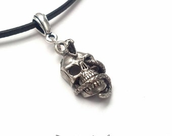 Silver Snake Skull Necklace - Silver Skull Necklace - Halloween Necklace - Day of the Dead Necklace - Halloween Jewelry