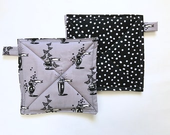Witchy Woman Potholders, Set of 2 Patchwork Potholders, Hostess Gift, Eco Friendly