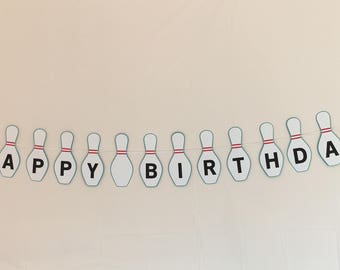 Bowling Party - Bowling Pins Happy Birthday Banner - Teal Background
