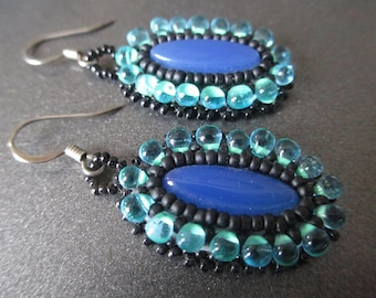 Handcrafted bead embroidered earrings with blue agate gemstone