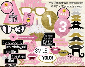 Photo Booth Props, HAPPY 13TH BIRTHDAY, girl, printable sheets, instant download, pink, gold, party