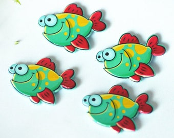 10pcs/lot Acrylic Flat Back lovely fish model | High-quality accessories | DIY Cartoon model | Kids'  Pre - school education crafts