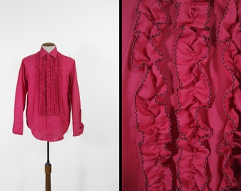 Vintage 70s Pink Ruffle Tuxedo Shirt Spiral Tux Button Up Long Sleeve - Size 14 - 33