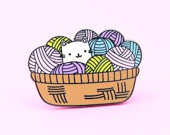 Cat Yarn Pin | yarn pin, cat pin, knitting pin, crochet pin, yarn lapel pin