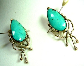 Modern Turquoise in Sterling Silver Hand Crafted