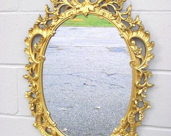 Hollywood Regency Syroco Gold Mirror Ornate Framed Oval   Big 29