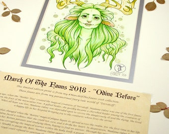 Odine Before Story Edition- MarchOfTheFauns 2018 Limited Edition Double Matted Faun Print with Story Scroll