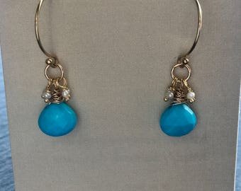 Faceted Turquoise hearts with tiny seed pearls on 14 karat gold fill rounded hook ear wires, Dangles