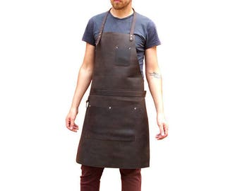 Leather Apron for Blacksmith Chef Butcher Carpenter Tattoo Artist - Silver Hardware AP1b *Free Shipping*