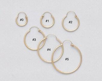 1.2 mm Gold Filled Endless Hoop Earrings/ PLAIN/ Gold Filled Hoop/ U PUSH BACK Closure/ Infinity Hoops/ Selling by One pair