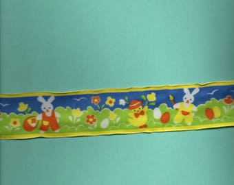 synthetic Ribbon decorated with bunnies and flowers