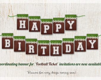 Football Birthday Banner, Custom Football Party Banners, Personalized Football Banner, Any Text Banner, Name Banner, Happy Birthday, Sports