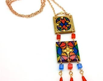 "Long artist drawing stained glass ""Cathedral"" Crystal beads charm pendant chain necklace blue red gold"