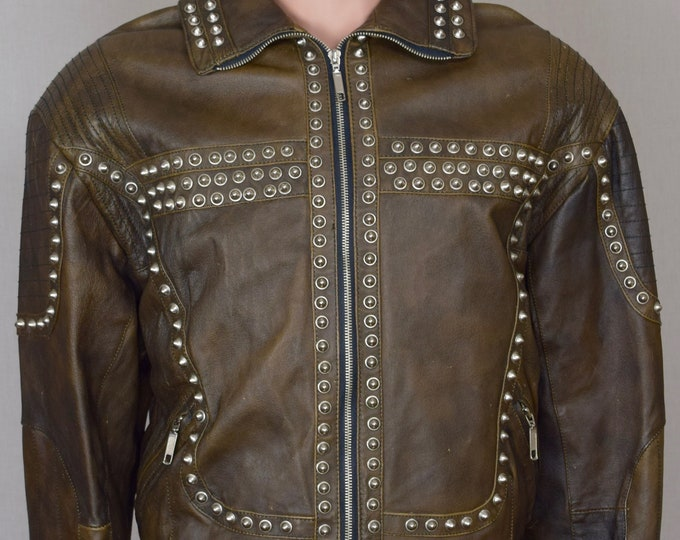Vintage 1980's Men's Spike Studded Mad Max Punk Heavy Metal Rock Star Leather Jacket Size M