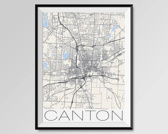 CANTON Ohio Map, Canton City Map Print, Canton Map Poster, Canton Wall Art, Canton gift, Custom city, Personalized Ohio map