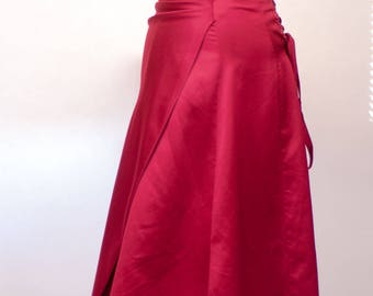 Red Corset Strapless Satin Prom Dress, Vintage 1990s prom dress