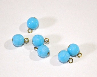 1 Loop Light Blue Smooth Glass Drops Czech Beads 8mm (6) drp088B
