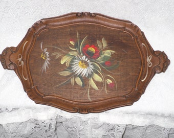 Oval Wood Tray Tole Hand Painted Flowers Handles Dresser Vanity