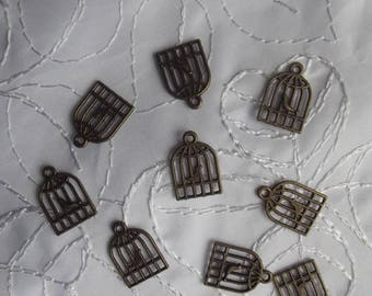 """SET OF 10 CHARMS """"BIRD CAGE"""" BRONZE COLORED METAL"""