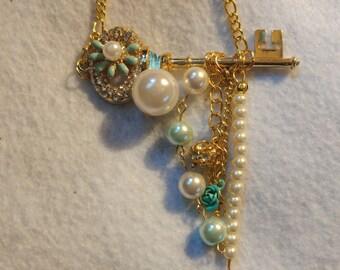 Key charm necklace, key necklace, charm necklace, gold key necklace, gold necklace, gifts for her