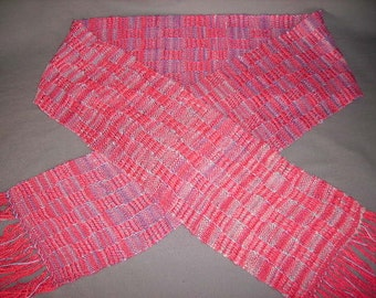 Handwoven silk and handspun soy silk scarf in coral and variegated blues, salmon, lavendar