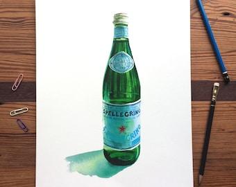 San Pellegrino in Green Glass - 11x14 Seltzer Watercolor Print - Affordable Kitchen Statement Art Food Mineral Sparkling Water Still Life