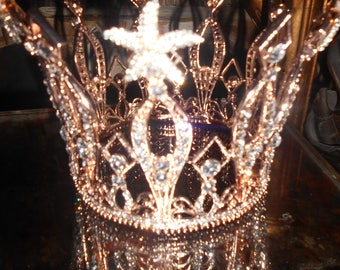 Free Shipping Rose gold 18 k plated full crown made for a film/bridal crystal full crown/Quincianera prom TV