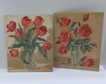 Vintage Paint-By-Number Set (16-A) Two 8 x 10 Oil Paintings Of Tulips and Roses--Unfinished