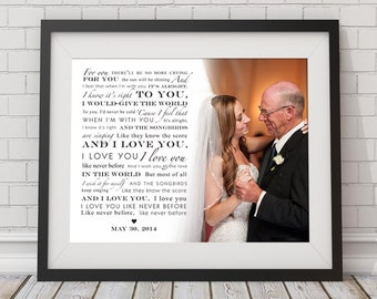 Father Daughter Dance Custom Song Lyric Photo Wall Art Keepsake Print - Gift for Father's Day, Daddy Daughter Dance, Gift for Dad, Granddad
