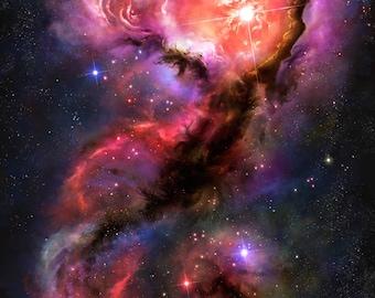 Premium Fine Art Painting under Glass on Floating Mount Space Art - The Mermaid Scorpion Nebula - Nebula Art Space Art Galaxy Art Universe
