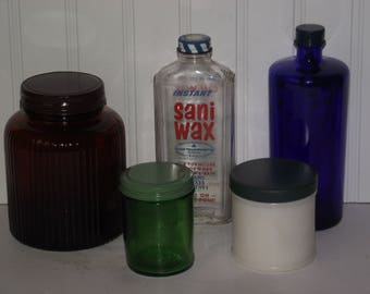 Group of five vintage (1950's) bottles and jars with original metal caps, all in good usable-collectible condition.