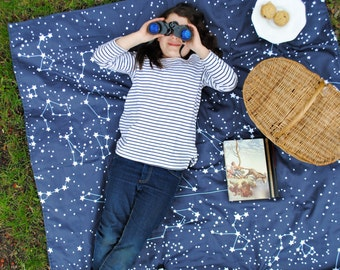 Picnic Blanket, ORGANIC Picnic Blanket, Roll-Up Beach Blanket, Galaxy Stars, Personalized Picnic Blanket